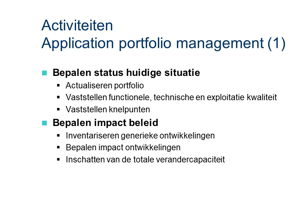 ASL - Application portfolio management: Activiteiten deel 1