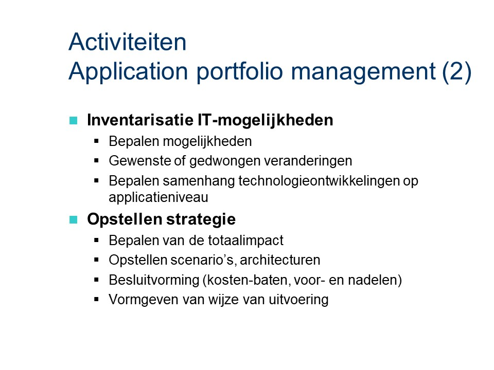 ASL - Application portfolio management: Activiteiten deel 2