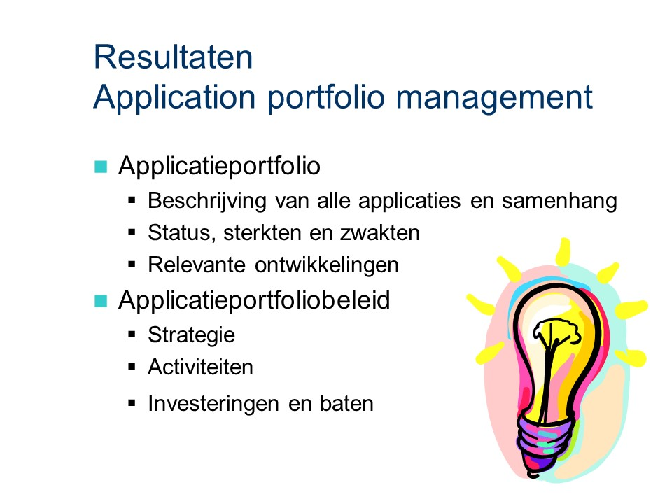 ASL - Application portfolio management: Resultaten