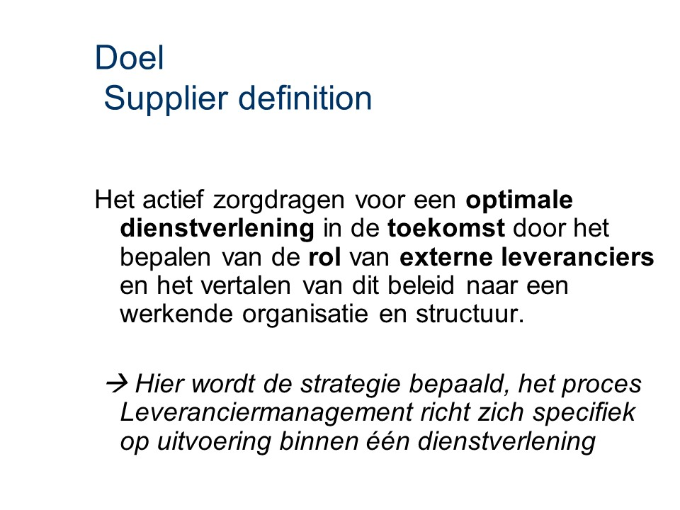ASL - Supplier definition: Doel