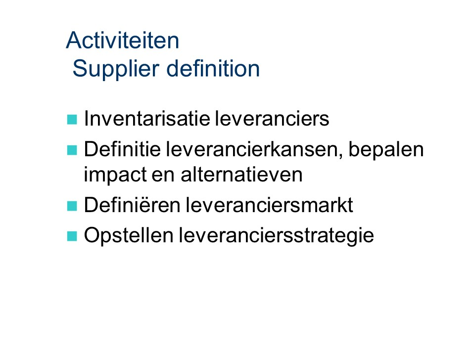 ASL - Supplier definition: Activiteiten