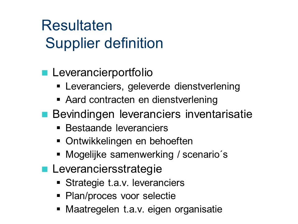 ASL - Supplier definition: Resultaten