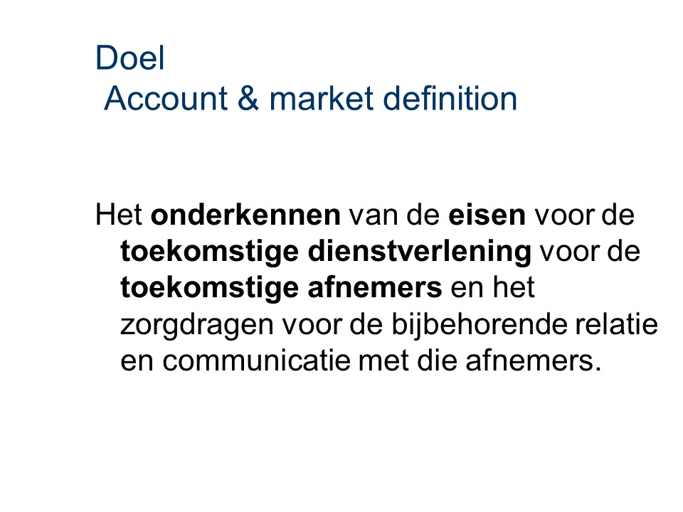 ASL - Account & market definition: Doel