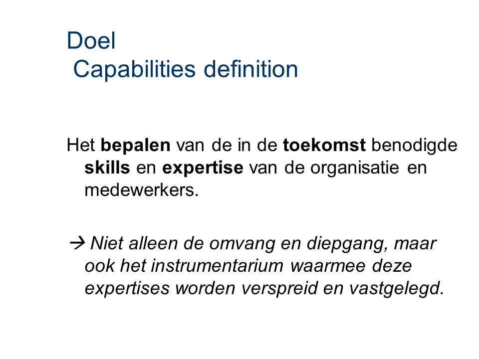 ASL - Capabilities definition: Doel