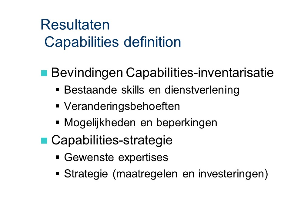 ASL - Capabilities definition: Resultaten