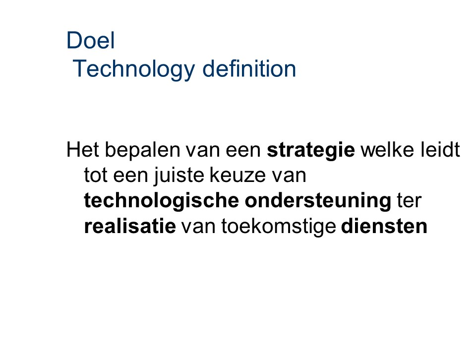 ASL - Technology definition: Doel