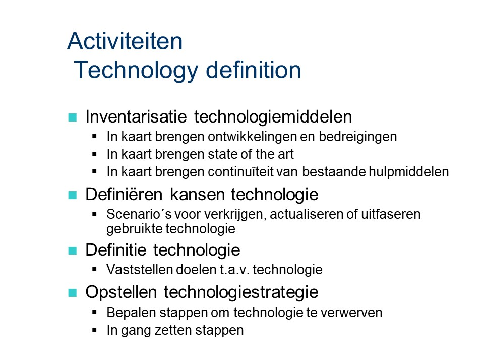 ASL - Technology definition: Activiteiten