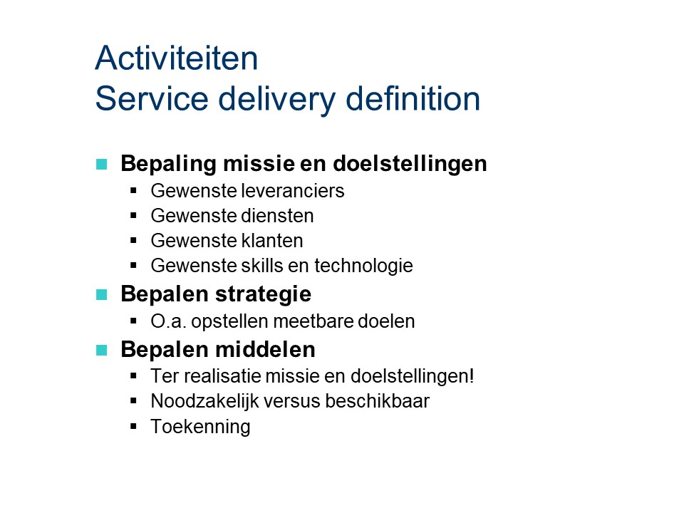 ASL - Service delivery definition: Activiteiten