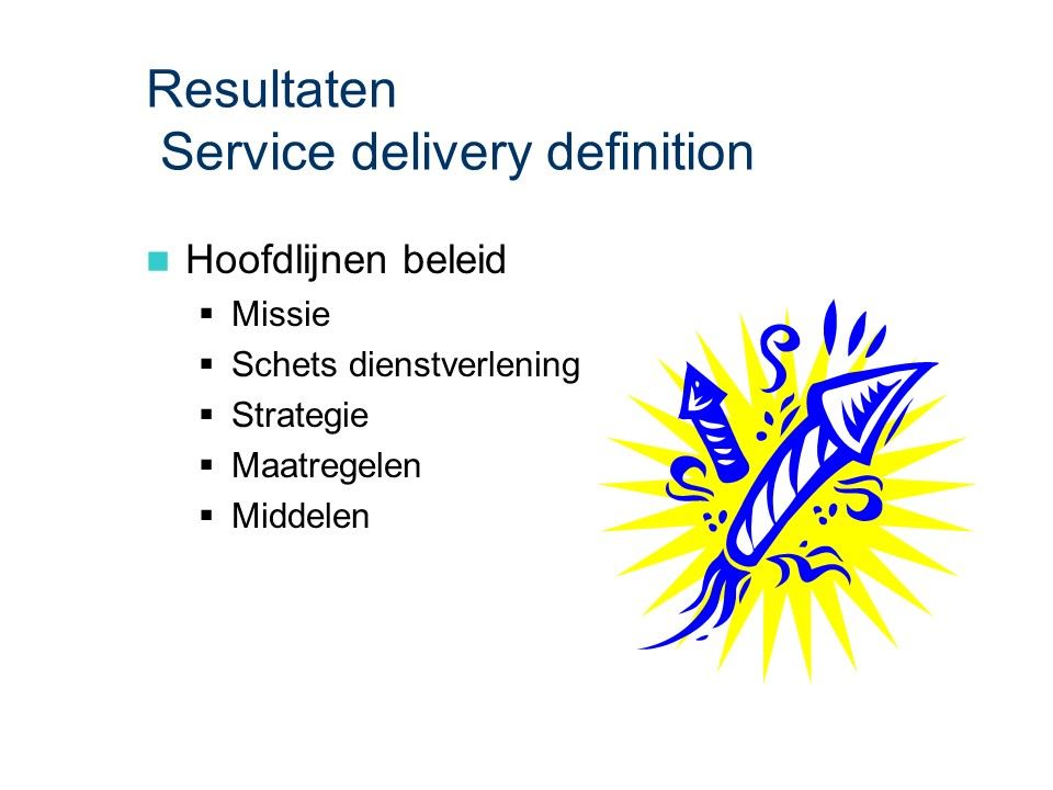 ASL - Service delivery definition: Resultaten