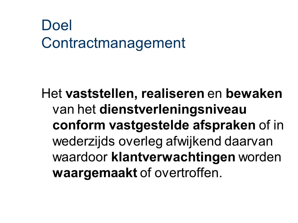 ASL - Contractmanagement: Doel