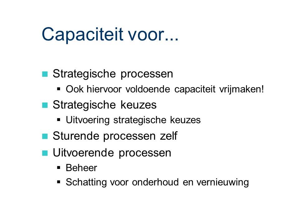ASL - Planning en control: Capaciteit voor...