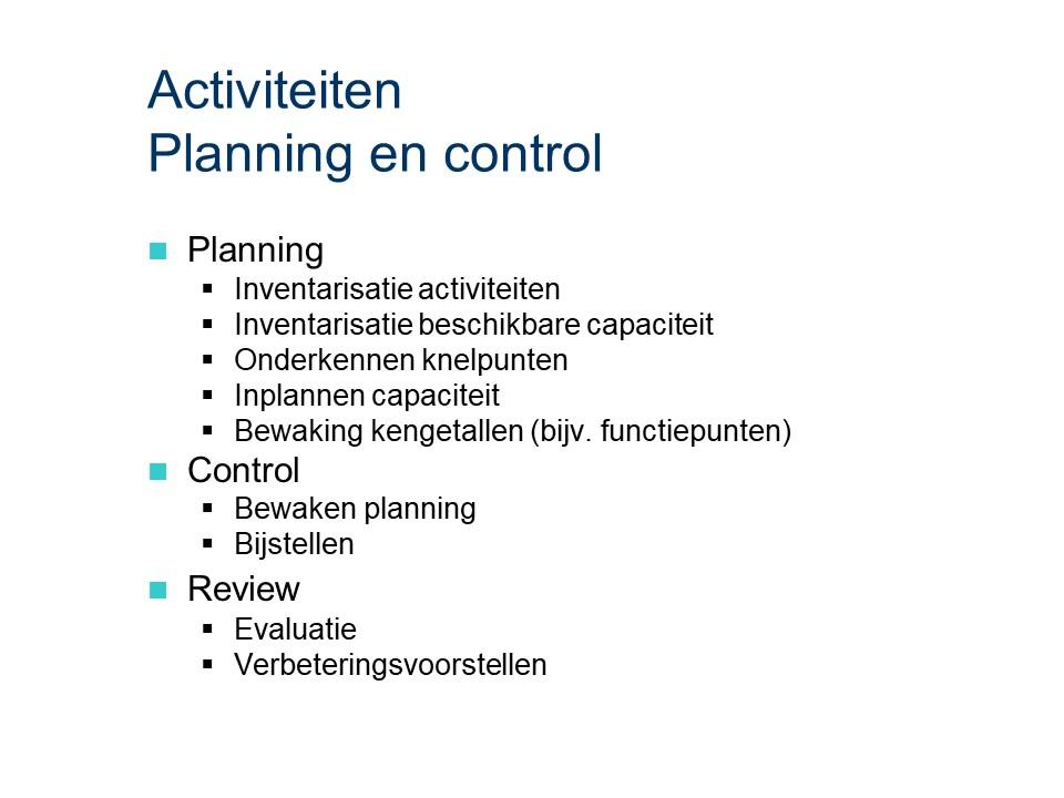 ASL - Planning en control: Activiteiten