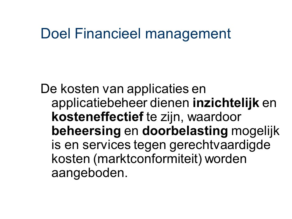 ASL - Financieel management: Doel