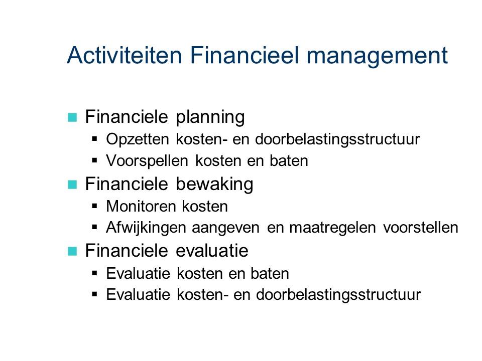 ASL - Financieel management: Activiteiten
