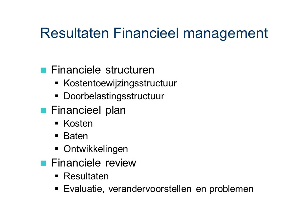 ASL - Financieel management: Resultaten