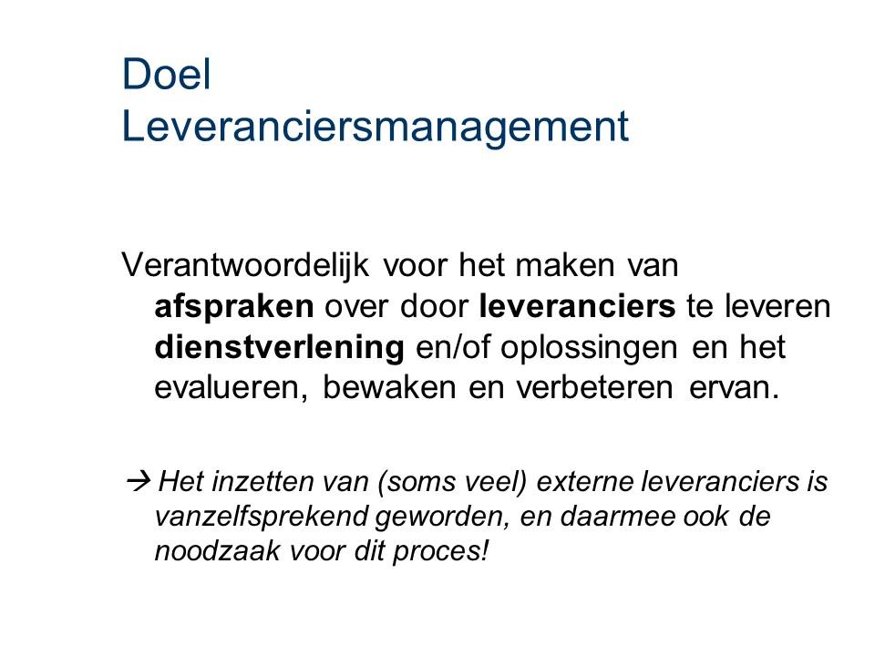 ASL - Leveranciersmanagement: Doel