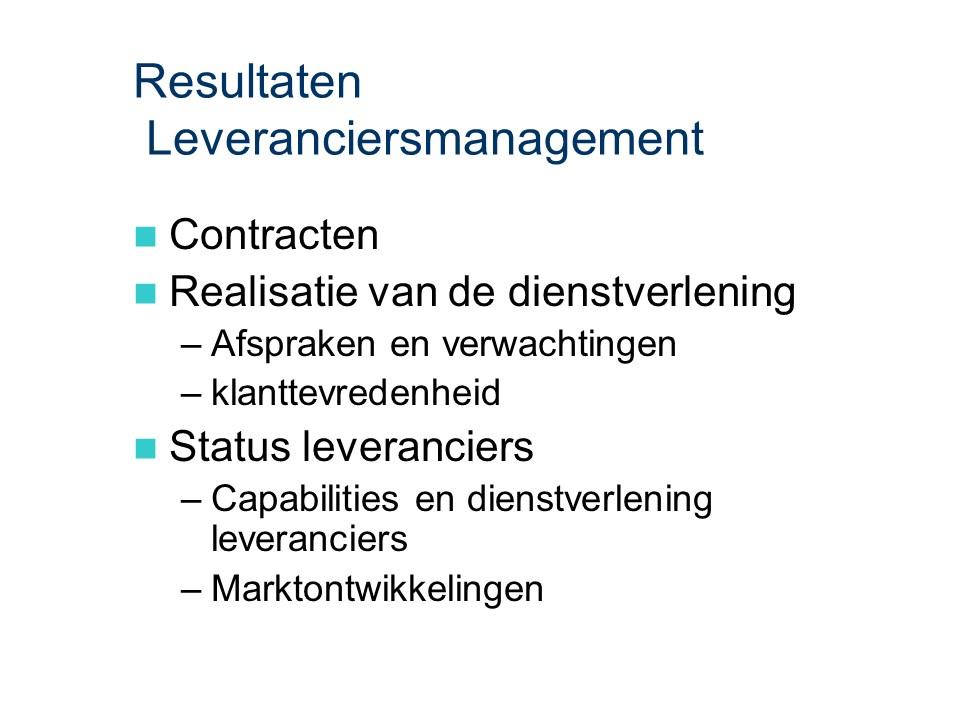 ASL - Leveranciersmanagement: Resultaten