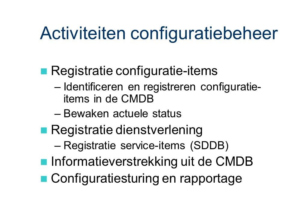 ASL - Configuratiebeheer: Activiteiten