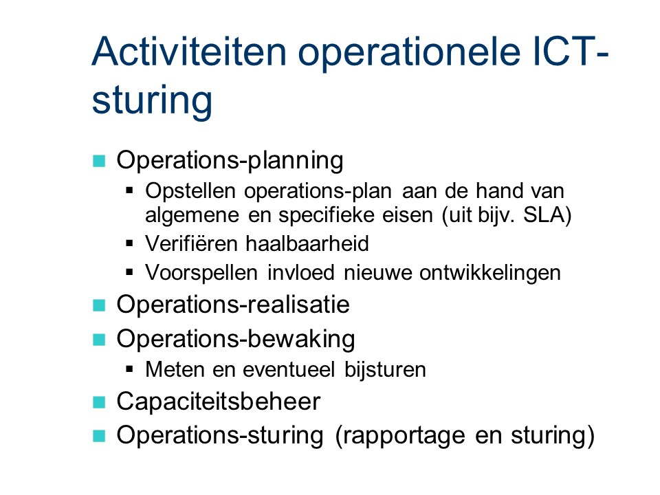 ASL - Operationele ICT-sturing: Activiteiten