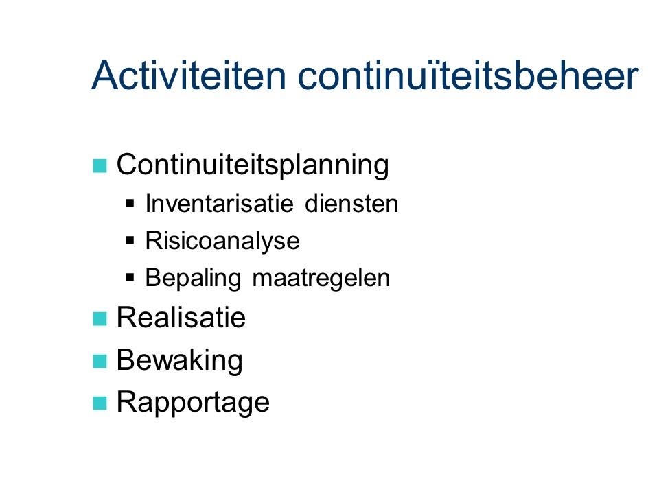 ASL - Continuiteitsbeheer: Activiteiten