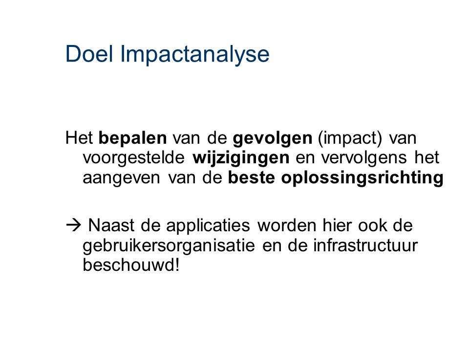 ASL - Impactanalyse: Doel