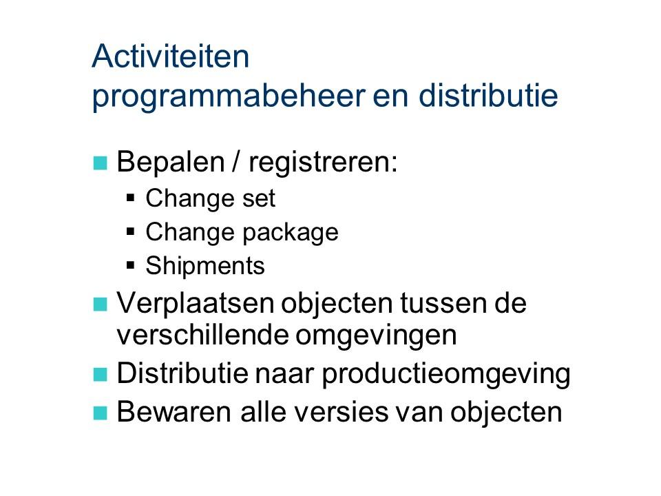ASL - Programmabeheer en distributie: Activiteiten