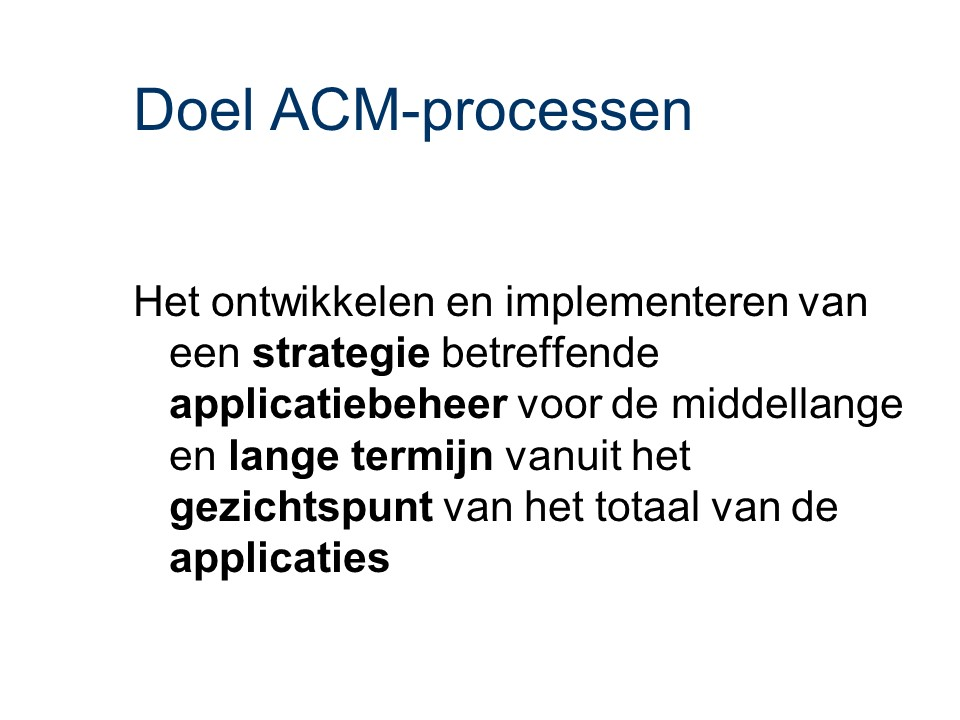 ASL - ACM: Doel